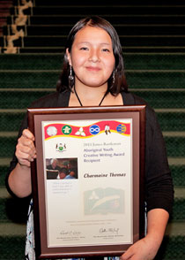 "Charmaine Thomas, age 16 from Big Trout Lake, is the senior fly-in recipient for her poem, ""Daughter Feel Pain Too""."