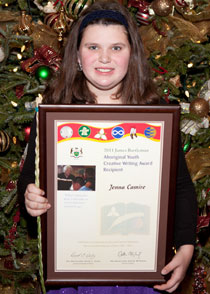 "Jenna Camire, age 12 from Kenora, is the junior off-reserve recipient for her poem, ""The Standing Wall""."
