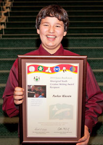 "Parker Waswa, age 12 from Fort Hope, is the junior fly-in recipient for his short story, ""My Trip to Gowie Bay""."