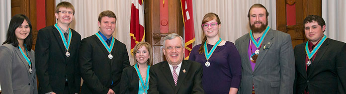 Ontario Medal for Young Volunteers: Recipients with the Honourable David Onley, Lieutenant Governor of Ontario.