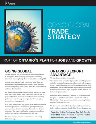 Going Global: Ontario's Trade Strategy