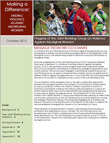 2013 Ontario Joint Working Group on Violence Against Aboriginal Women Progress Report